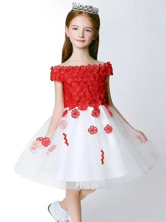 White Tulle and Red Applique Flower Girl Dress with Cap Sleeves