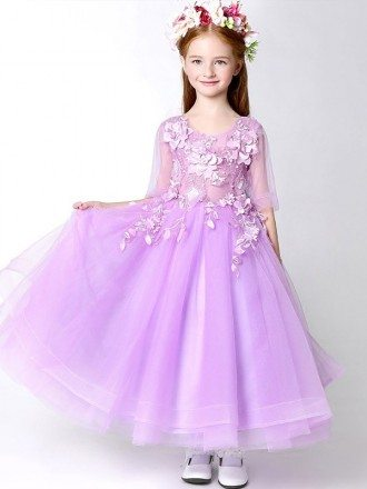 Fairy Lilac Long Tulle Applique Pageant Dress for Little Girls