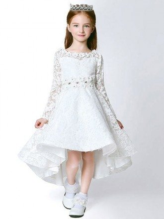 All Lace Fairy Long Sleeves Flower Girl Dress in High Low Style