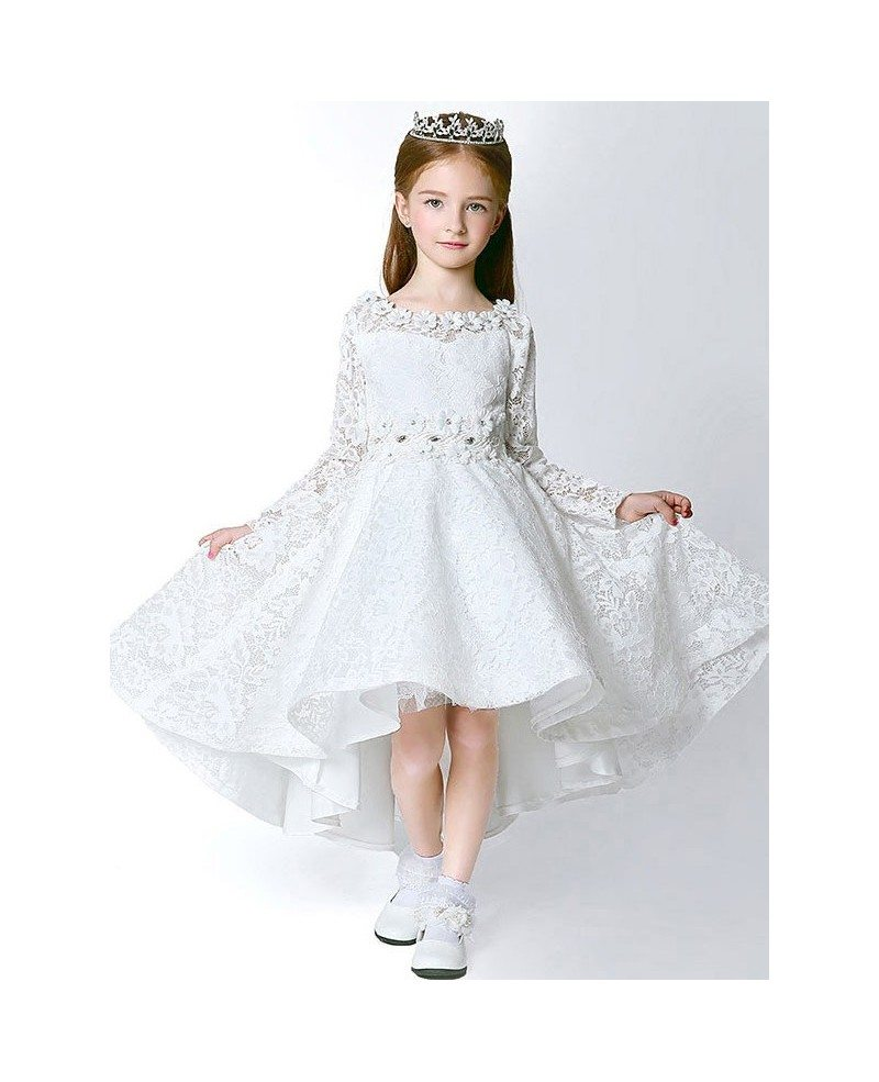 All lace fairy long sleeves flower girl dress in high low style all lace fairy long sleeves flower girl dress in high low style mightylinksfo