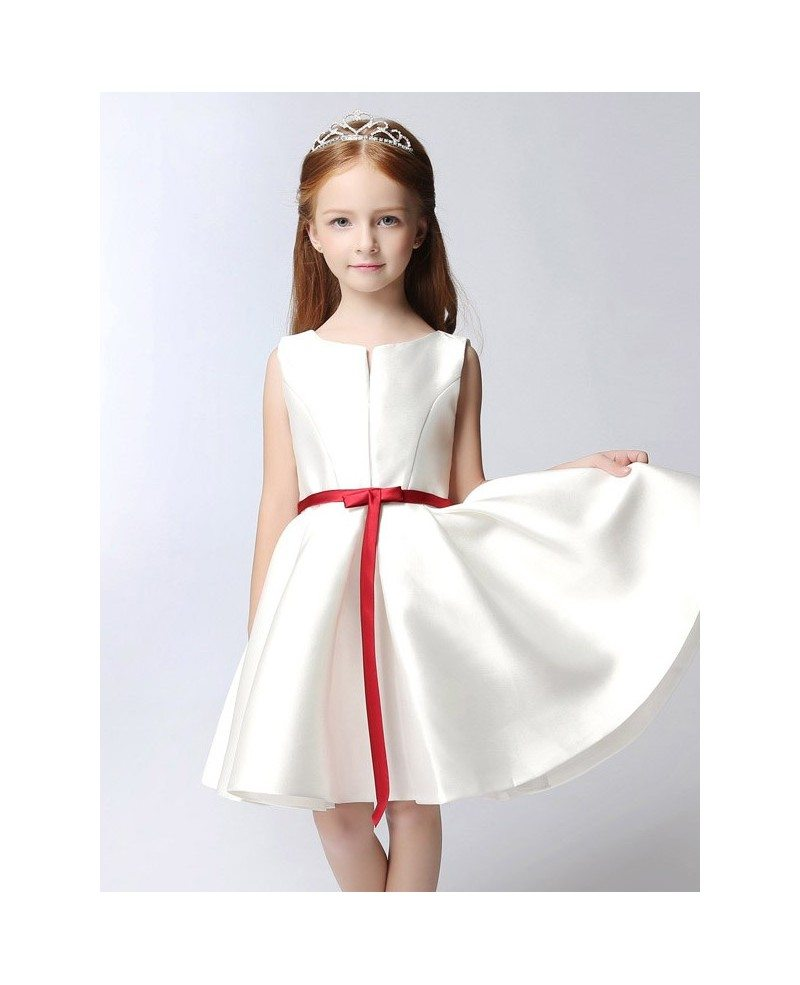 Simple Satin Short White Flower Girl Dress With Red Sash Efs14
