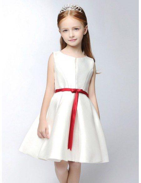 Simple satin short white flower girl dress with red sash efs14 grace love simple satin short white flower girl dress with red sash mightylinksfo