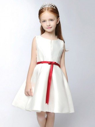 Simple Satin Short White Flower Girl Dress with Red Sash