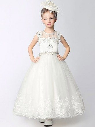 Little Girl's Lace Long Floral Pageant Dress with Rhinestones