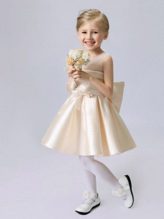Sheer Top Simple Satin Champagne Short Flower Girl Dress with Bows