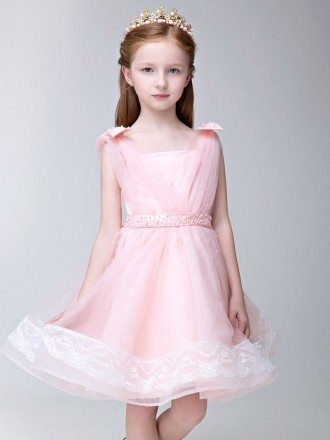 Lovely Pink Tulle Lace Flower Girl Dress with Beaded Waist