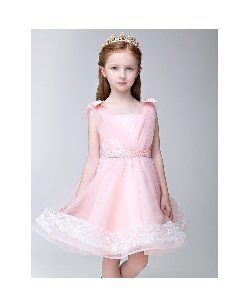 Lovely Pink Tulle Lace Flower Girl Dress With Beaded Waist Efs19