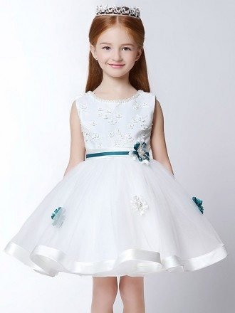 Ball Gown Short White Lace Pageant Dress with Scoop Beaded Neck