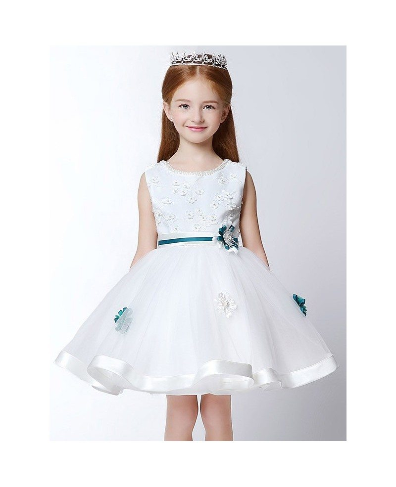 Ball Gown Short White Lace Pageant Dress with Scoop Beaded Neck ...
