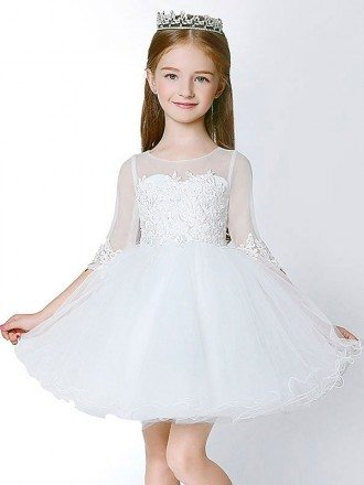 3/4 Sleeves Short Tulle Lace Flower Girl Dress with Ball Gown