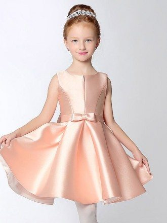 Simple Short Taffeta Pink Flower Girl Dress with Bow Sash
