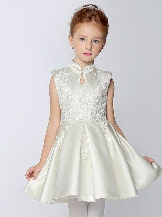 High Collar A Line Short Satin Pageant Dress with Lace
