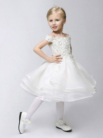 Cap Sleeve Short Layered Bubble Flower Girl Dress with Lace Bodice