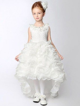 High Low Cascading Beaded Flower Girl Dress with Lace Bodice