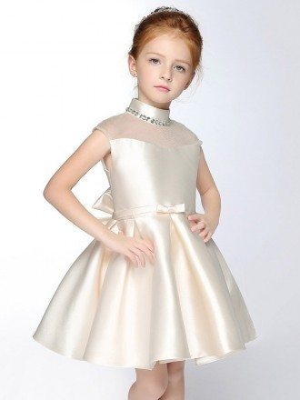 High Beaded Collar Taffeta Champagne Flower Girl Dress with Bow Sash