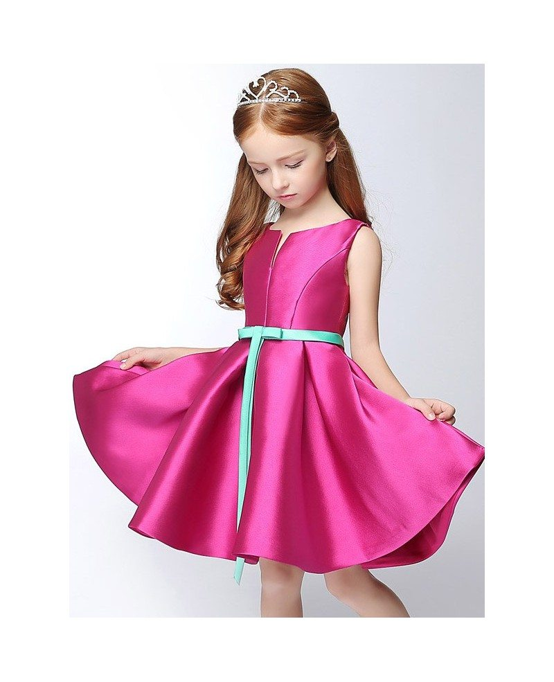Simple Satin Short Fuchsia Flower Girl Dress With Blue