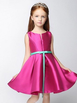 Simple Satin Short Fuchsia Flower Girl Dress with Blue Sash