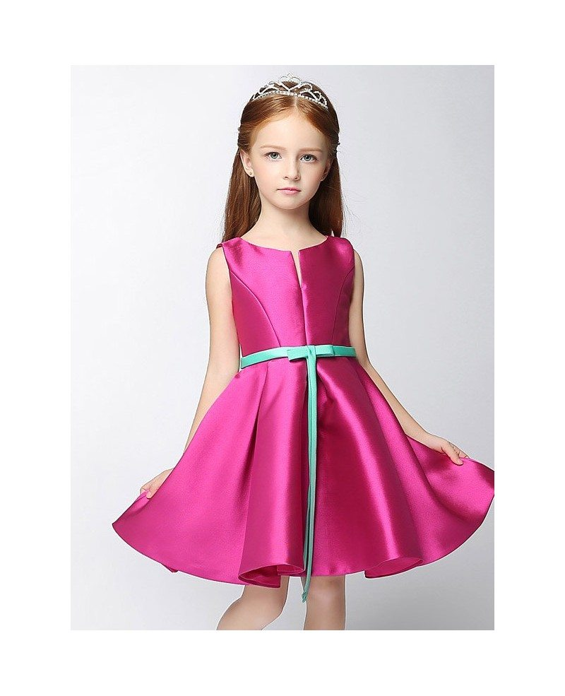 Simple satin short fuchsia flower girl dress with blue sash efs29 simple satin short fuchsia flower girl dress with blue sash izmirmasajfo
