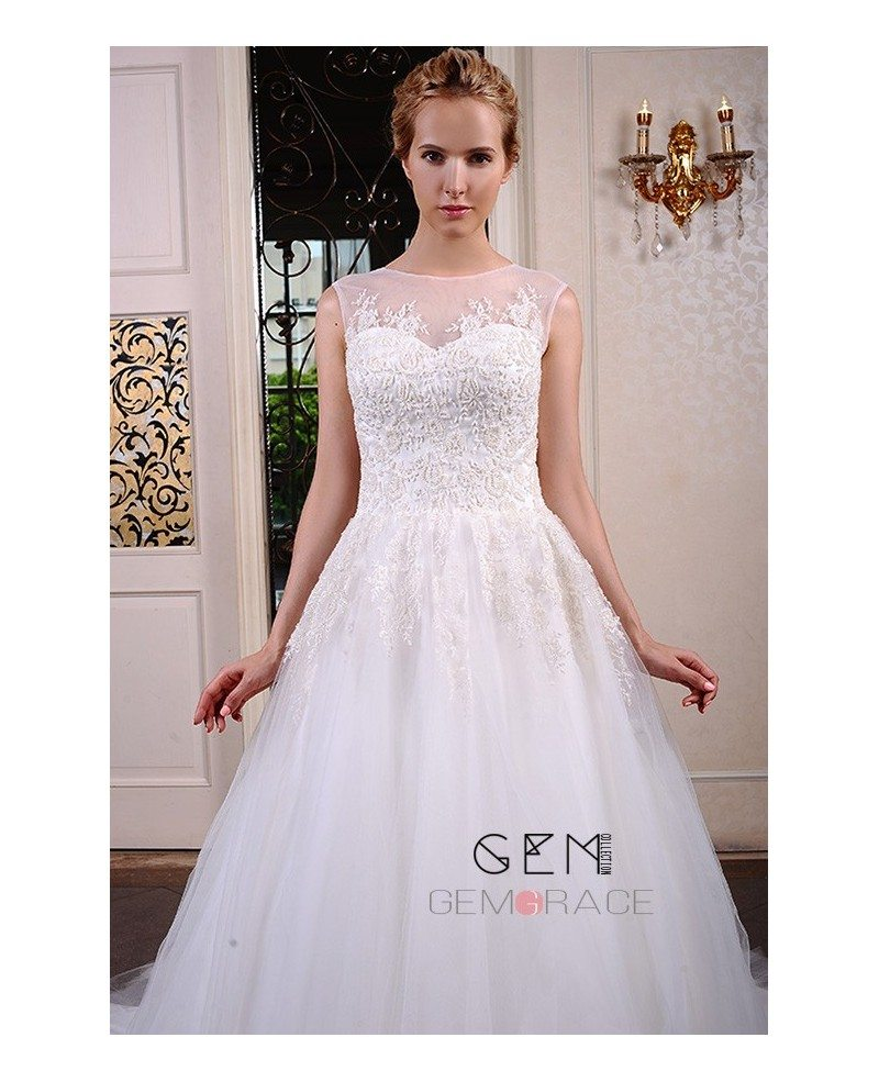 Ball-Gown Scoop Neck Chapel Train Tulle Wedding Dress With Appliques ...