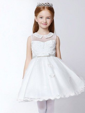Short White A Line Applique Tulle Flower Girl Dress