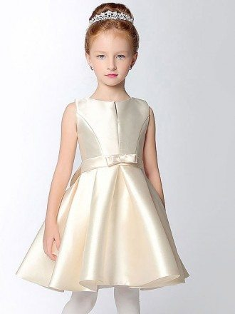 Simple Satin Short Champagne Flower Girl Dress with Bow Sash
