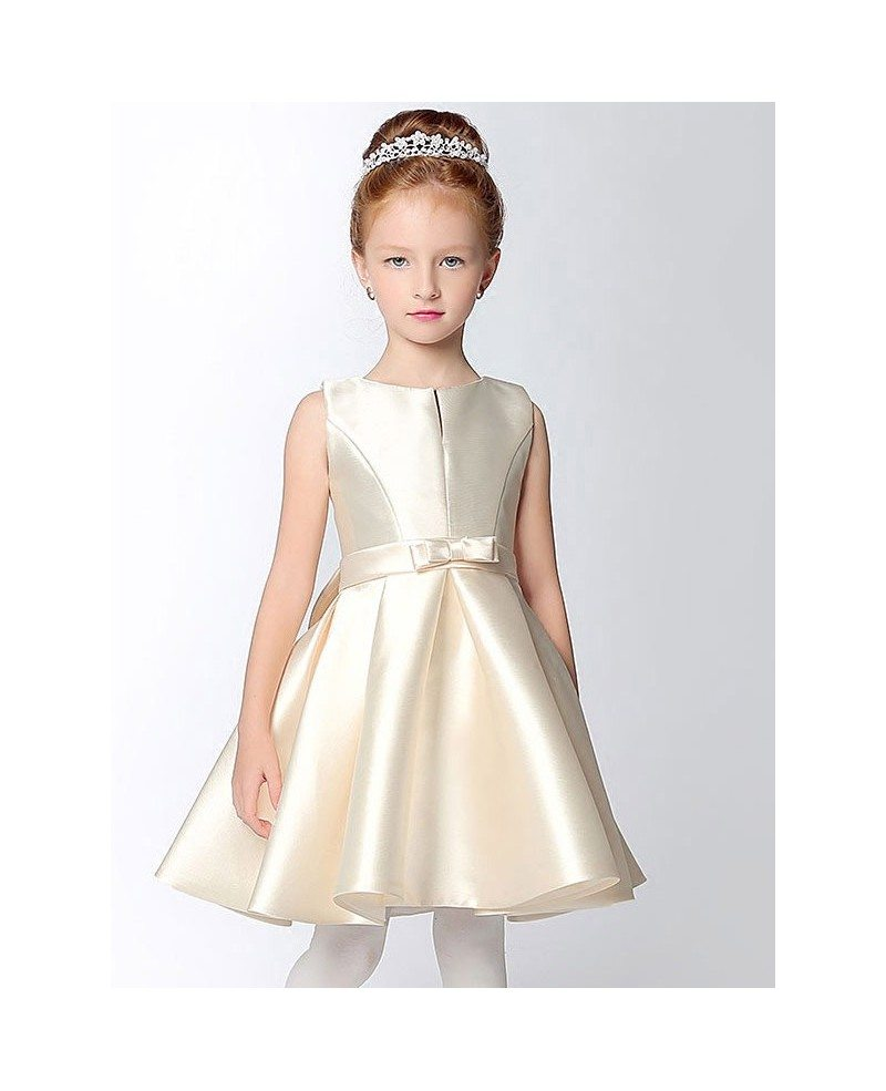 Simple Satin Short Champagne Flower Girl Dress With Bow Sash Efs31