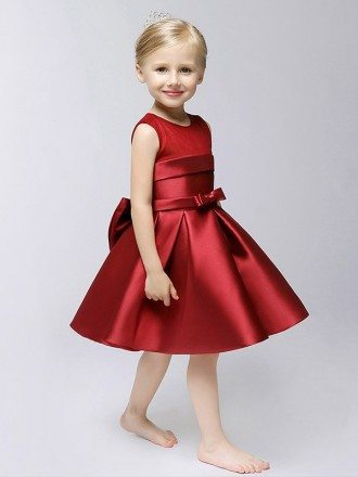 Hot Red Short Satin A Line Flower Girl Dress with Bow Sash