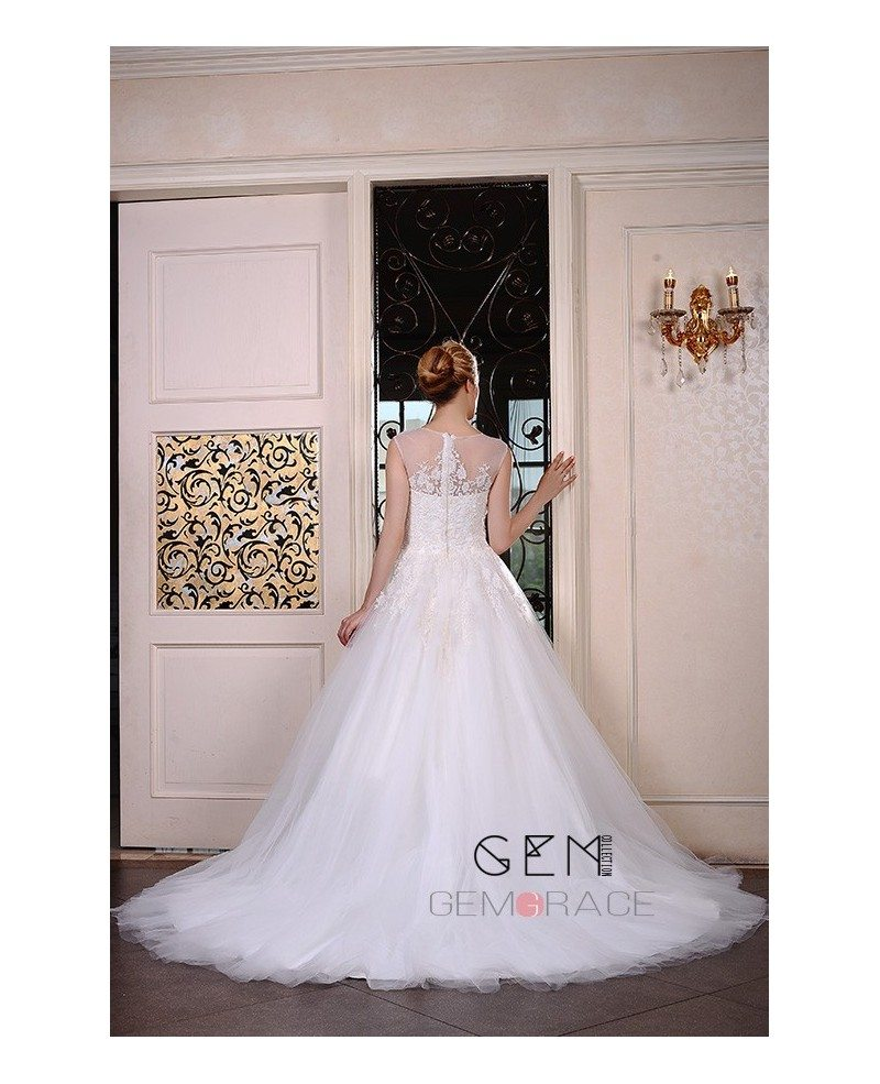 Ball gown scoop neck chapel train tulle wedding dress with for Chapel train wedding dress