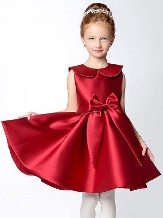 Hot Red Short A Line Satin Collared Flower Girl Dress with Bows