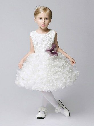 Short Organza Ruffled Bubble Flower Girl Dress with Lace Beaded Bodice
