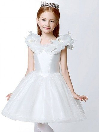 Organza Short White Ball Gown Flower Girl Dress with Butterflies