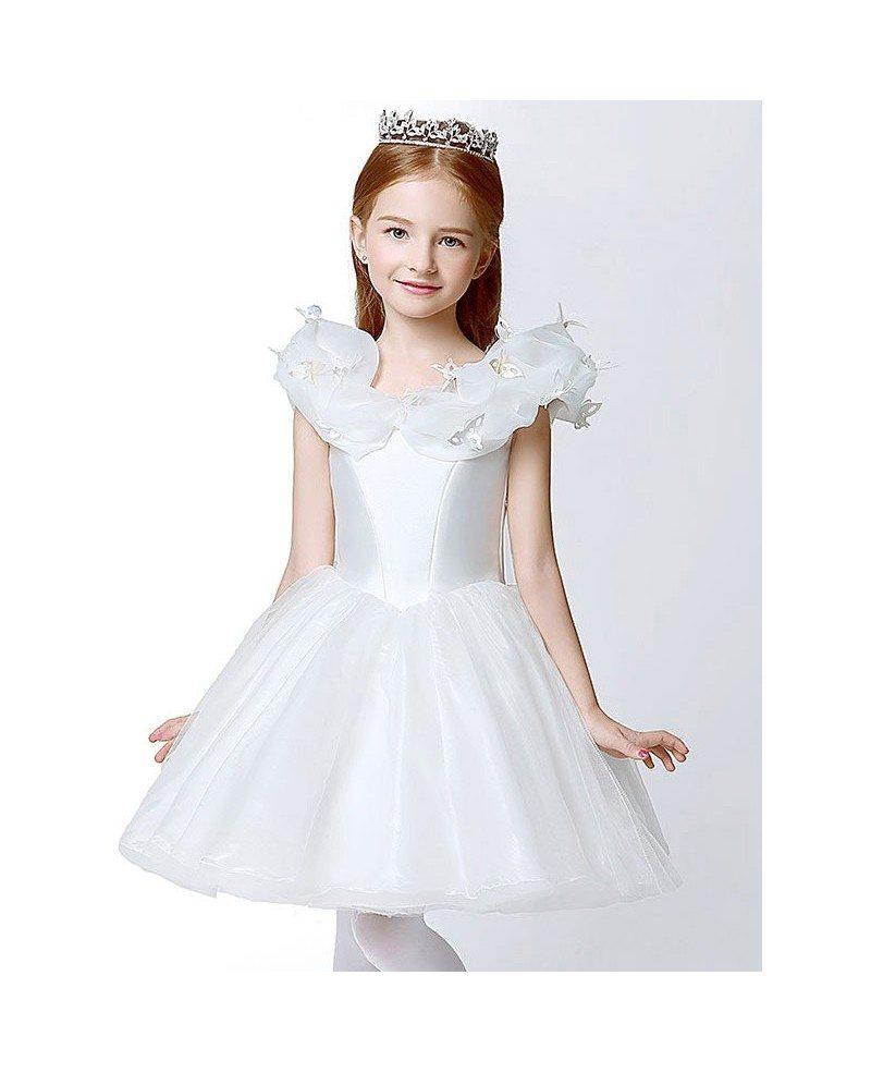 Organza Short White Ball Gown Flower Girl Dress With Butterflies