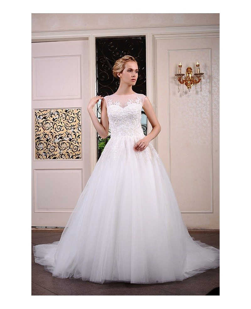 Ball-Gown Scoop Neck Chapel Train Tulle Wedding Dress With ...