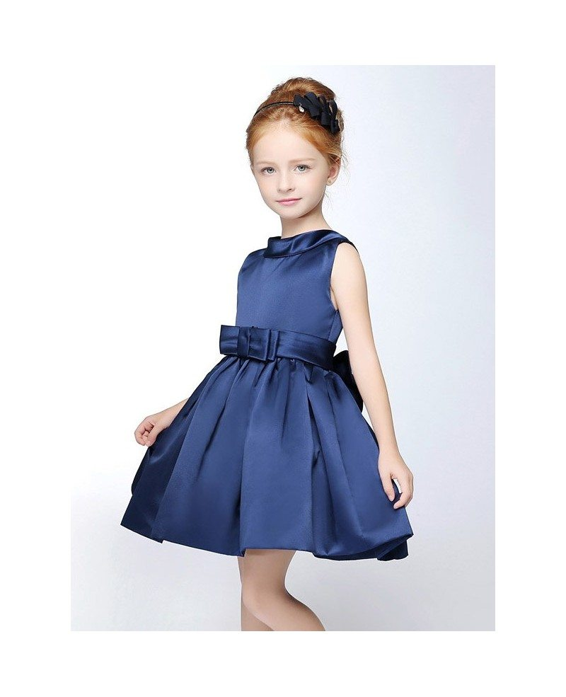 Navy blue simple satin short collared flower girl dress with sash navy blue simple satin short collared flower girl dress with sash izmirmasajfo