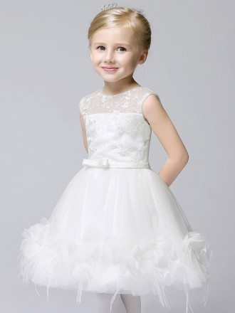 Fairy White Applique Short Tulle Flower Girl Dress