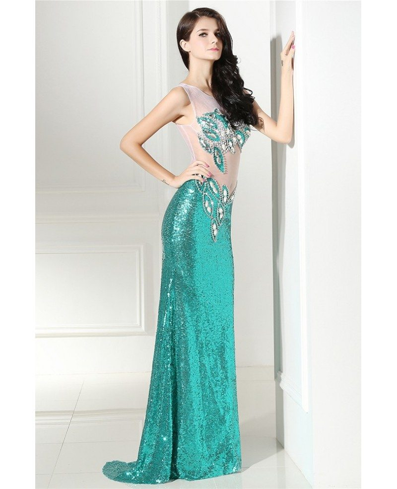 sparkle sexy sequins open back long formal party dress