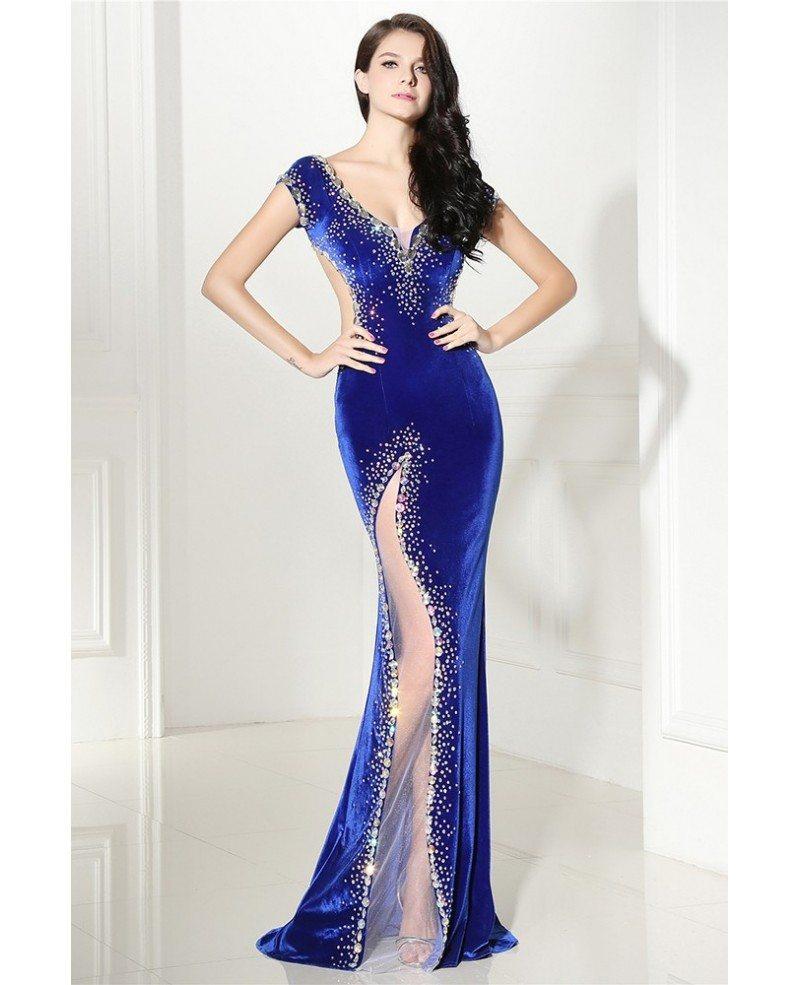 sexy mermaid beaded royal blue slit backless prom dress