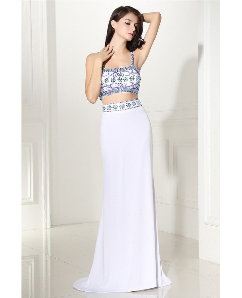 Two Piece Long White Prom Dress with Beaded Straps #LG0297 ...