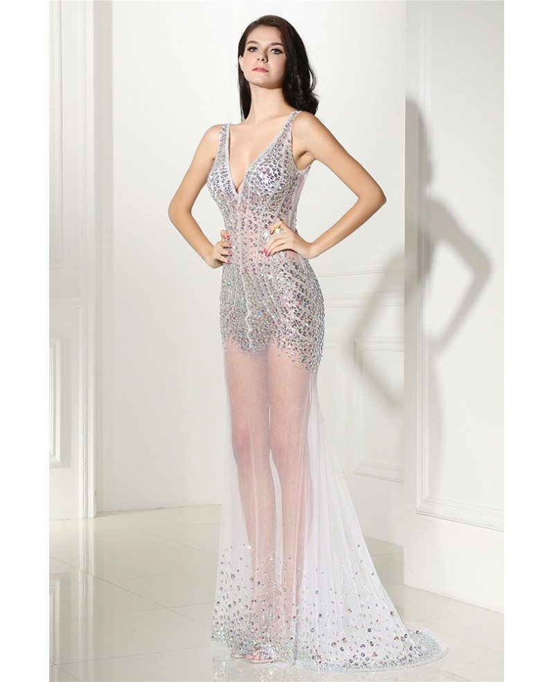 Shinning Beading Fitted V-neck Sexy Prom Dress Open Back #LG0299 - GemGrace.com