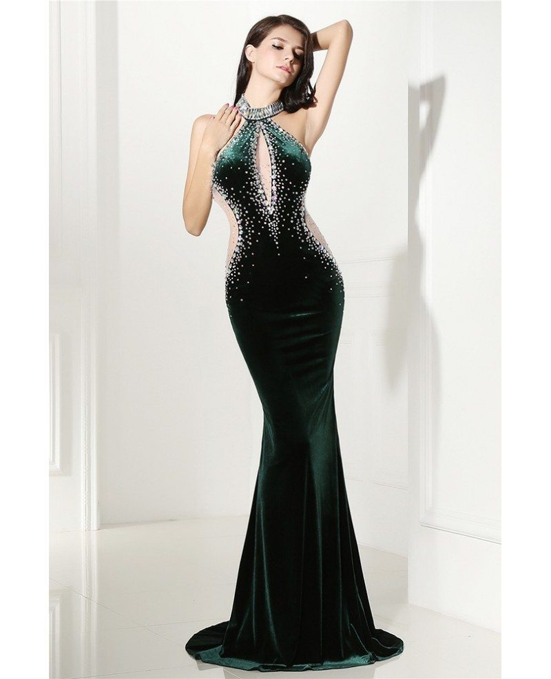 Beaded Long Halter Red Sleek Prom Formal Gown Sweep Train #LG0303 ...