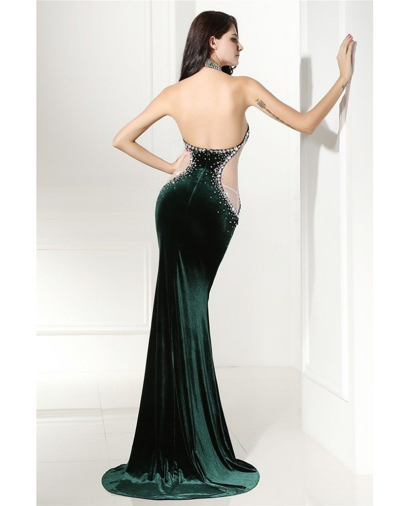 Beaded long halter red sleek prom formal gown sweep train for Long sleek wedding dresses