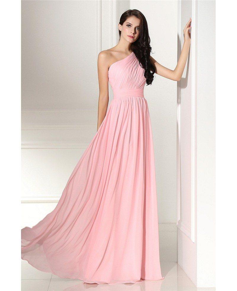 Simple Elegant Pleated One Shoulder Pink Formal Dress # ...