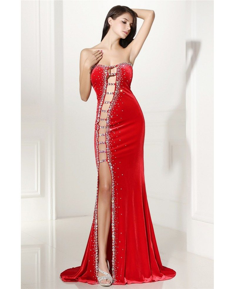 sexy cutout fitted mermaid red prom dress with slit