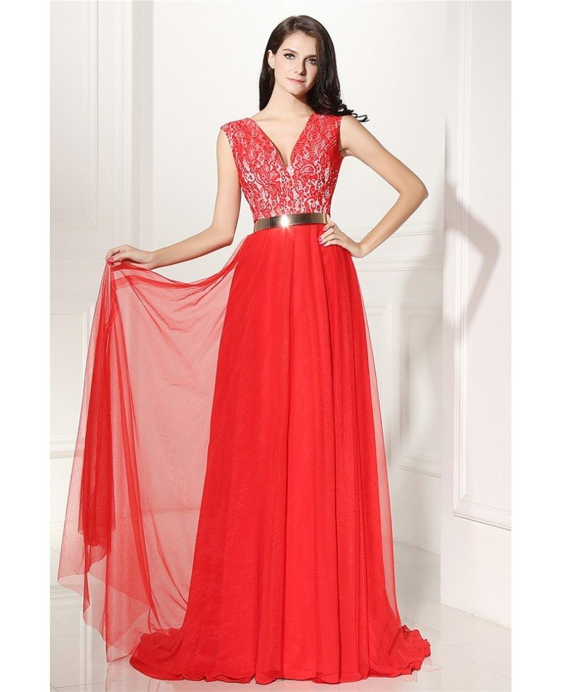v neck lace and tulle formal prom dress with belt