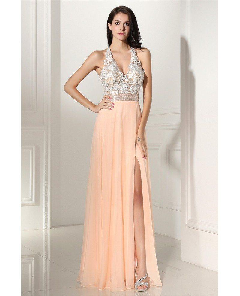 sleeveless lace vneck slit coral chiffon prom dress