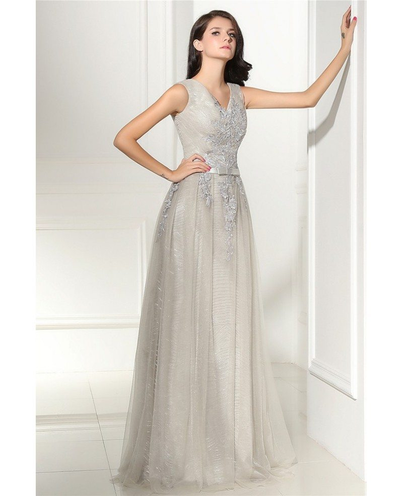 Special Grey Lace Tulle Long Prom Dress Lg0314 Gemgrace Com