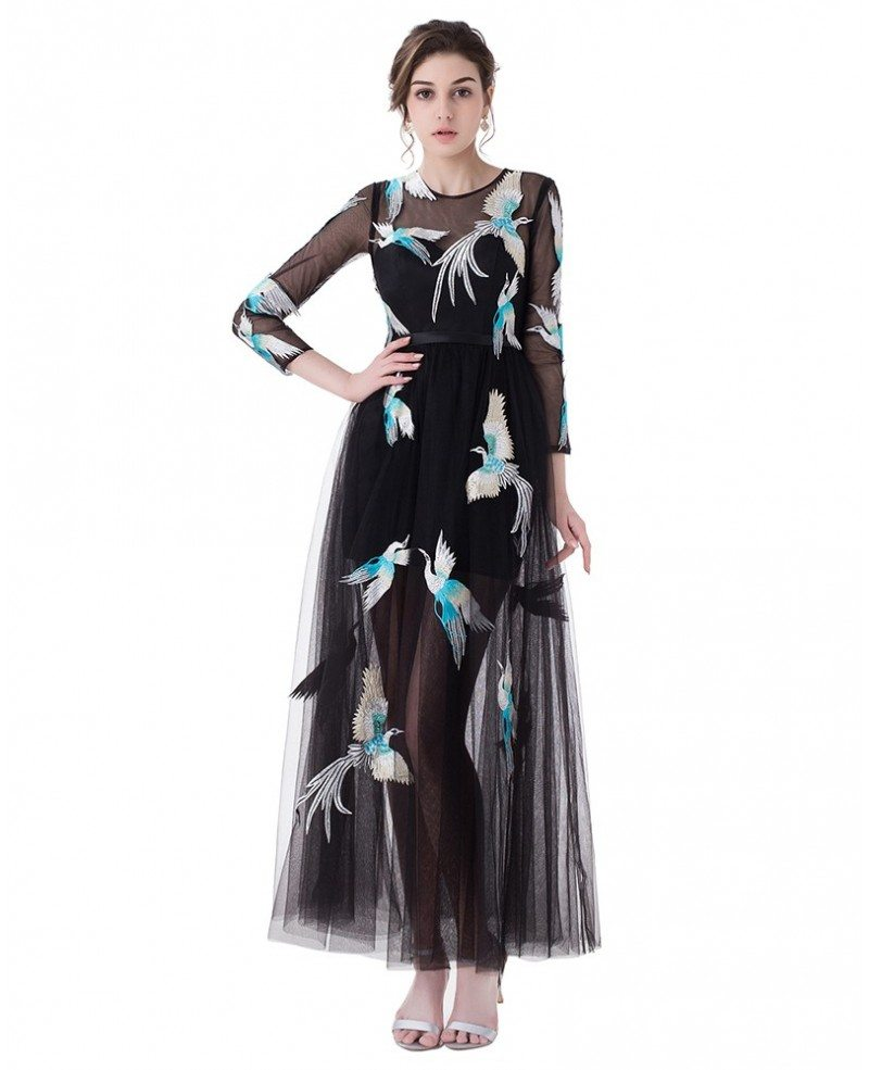 See-through Tulle Prom Dress with Birds Pattern #LG0325 - GemGrace.com