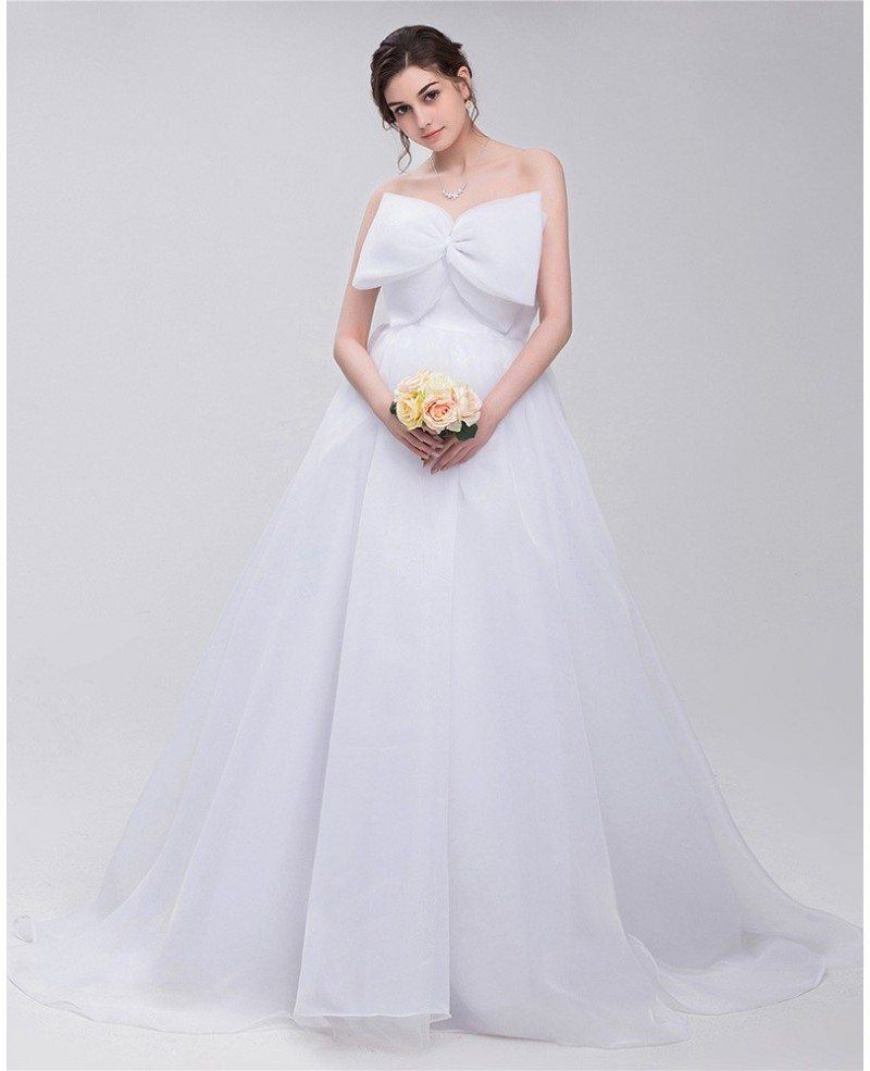Big Bow Front Empire Waist Long Tulle Wedding Dress #ID0093 ...