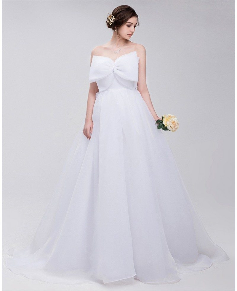 Big bow front empire waist long tulle wedding dress for Wedding dress with waistband