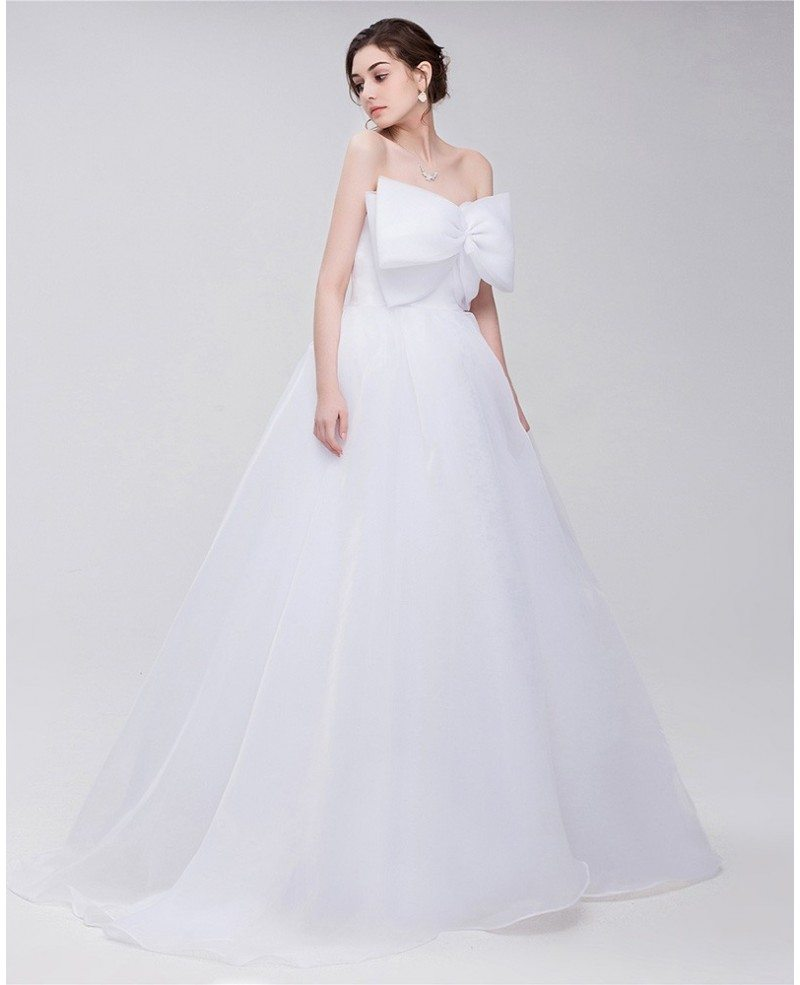 Big bow front empire waist long tulle wedding dress for Wedding dress with red ribbon on waist